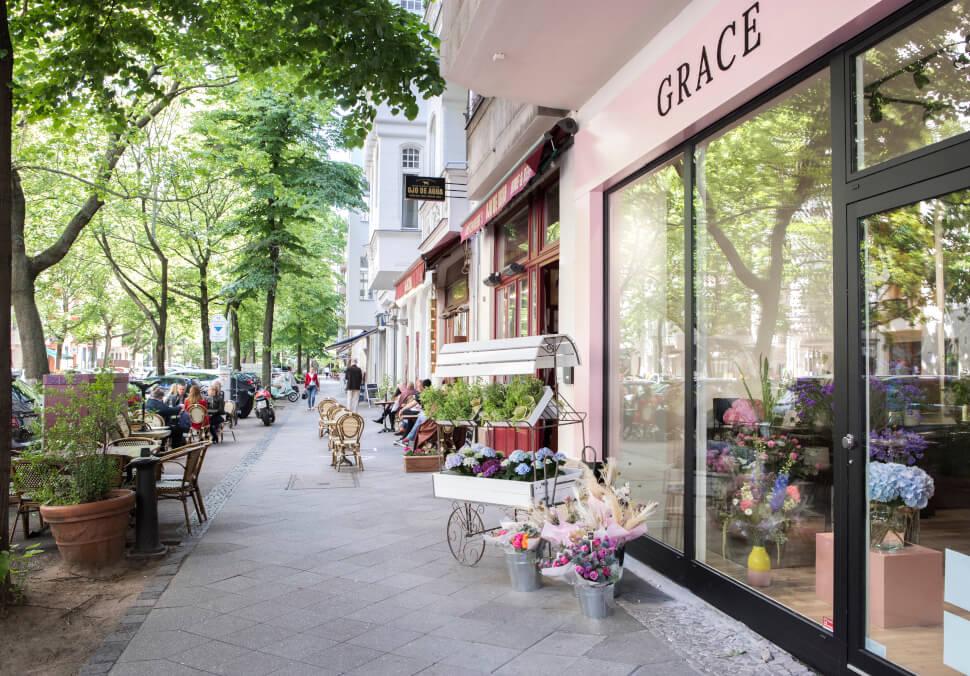 Aussenansicht des Grace-Flowers Blumenladen